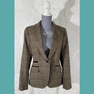 Zara Basic Houndstooth Plaid Single Button Blazer